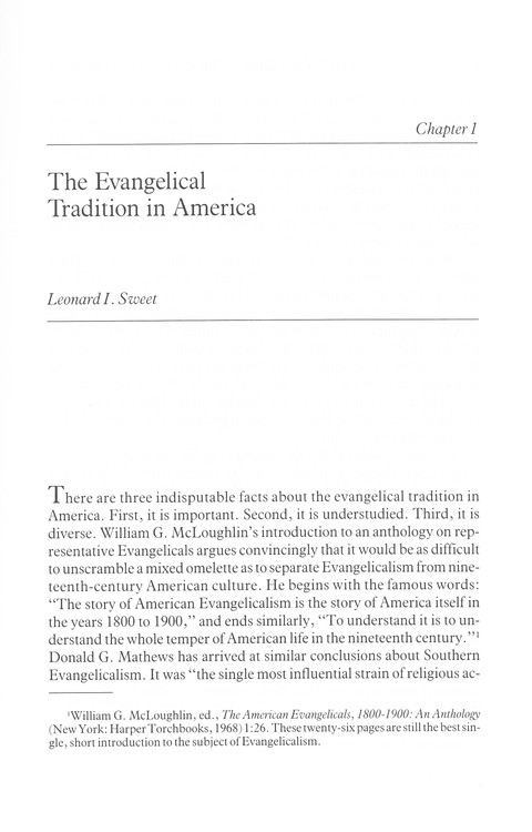The Evangelical Tradition in America  - Slightly Imperfect