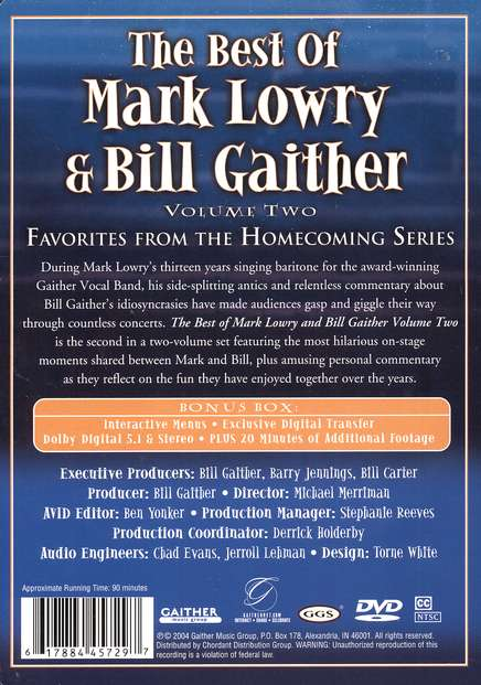 The Best of Mark Lowry & Bill Gaither, Volume 2, DVD