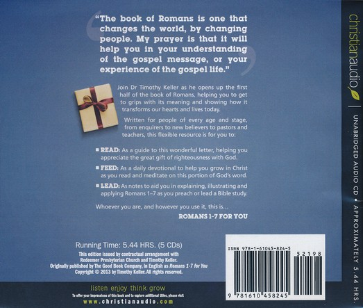 Romans 1 - 7 for You - unabridged audiobook on CD