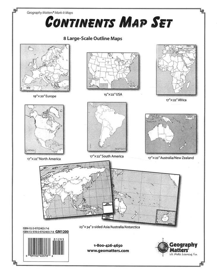 Continents Map Set (5 17 X 22 non-laminated)