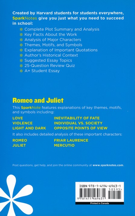 Romeo And Juliet Sparknotes Literature Guide William Shakespeare