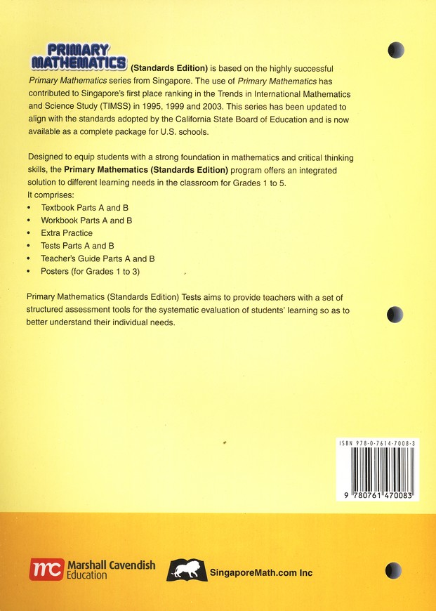Primary Mathematics Tests 1A (Standards Edition)