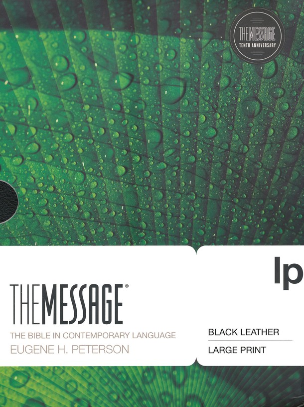 The Message, Large Print Premium Leather, Black