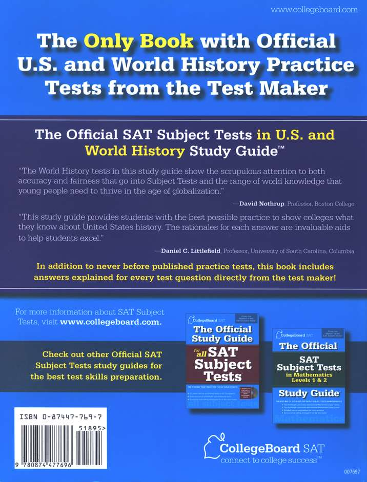The official sat subject tests in us and world history study guide the official sat subject tests in us and world history study guide 9780874477696 christianbook fandeluxe Choice Image