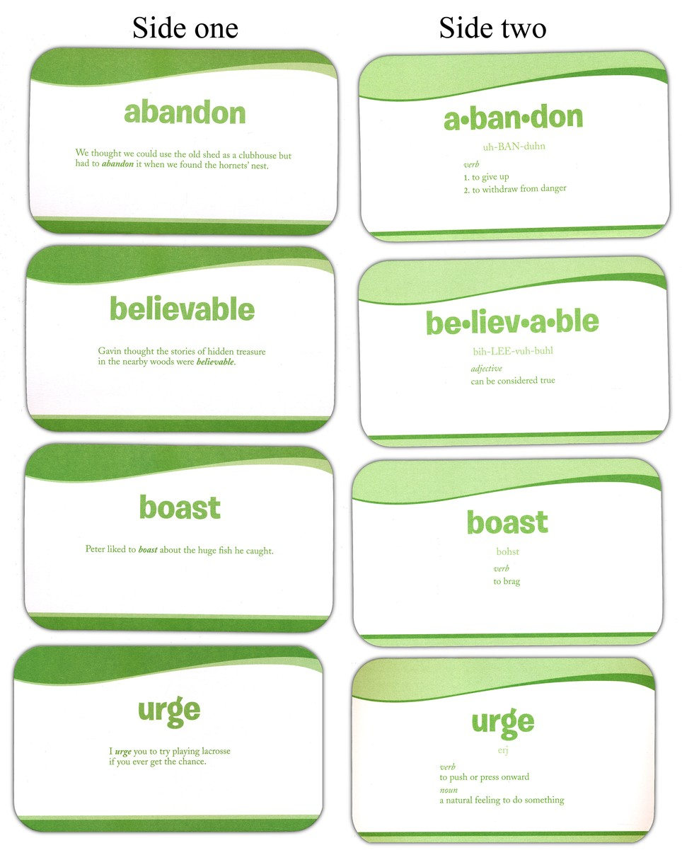 Vocabulary Flashcards - 4th Grade