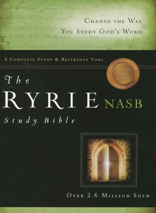 Ryrie NAS Study Bible Genuine Leather Black, Red Letter, Indexed