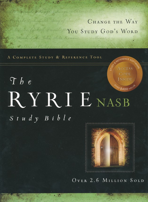 Ryrie NAS Study Bible Genuine Leather Burgundy, Red Letter, Indexed