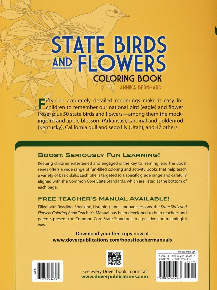 State Birds And Flowers Coloring Book Annika Bernhard 9780486494388