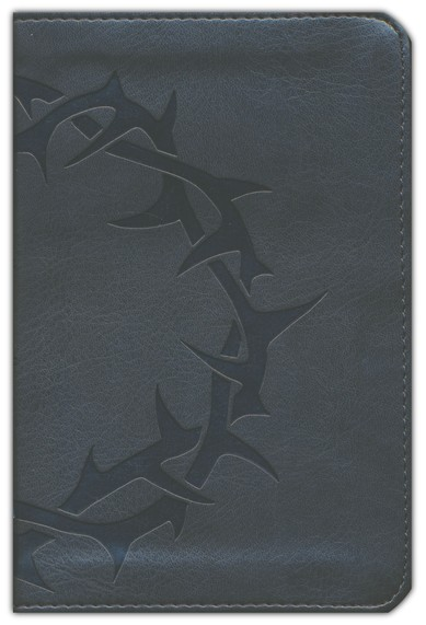 ESV Compact Bible--soft leather-look, charcoal with crown  design