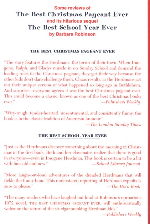 The Best Christmas Pageant Ever, Hardcover