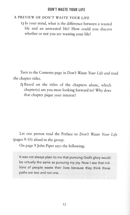 Dont Waste Your Life Group Study Guide John Piper 9781433506338