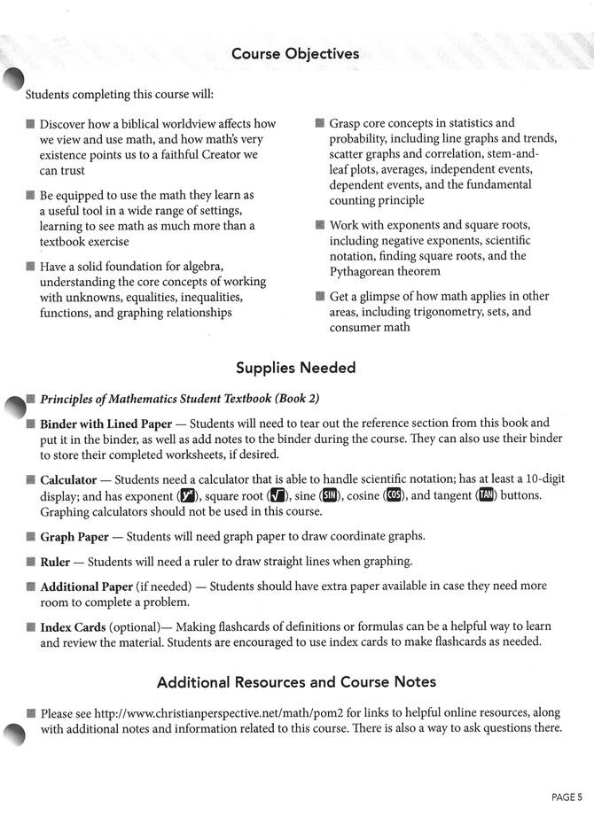 Principles of Mathematics Book 2, Teacher Guide
