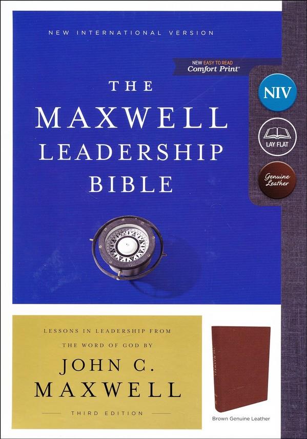 NIV, Maxwell Leadership Bible, 3rd Edition, Genuine Leather, Brown, Comfort  Print