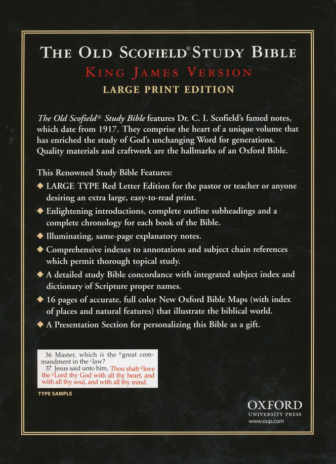 KJV The Old Scofield Study Bible, Large Print Edition Genuine  Leather Black, Thumb-Indexed