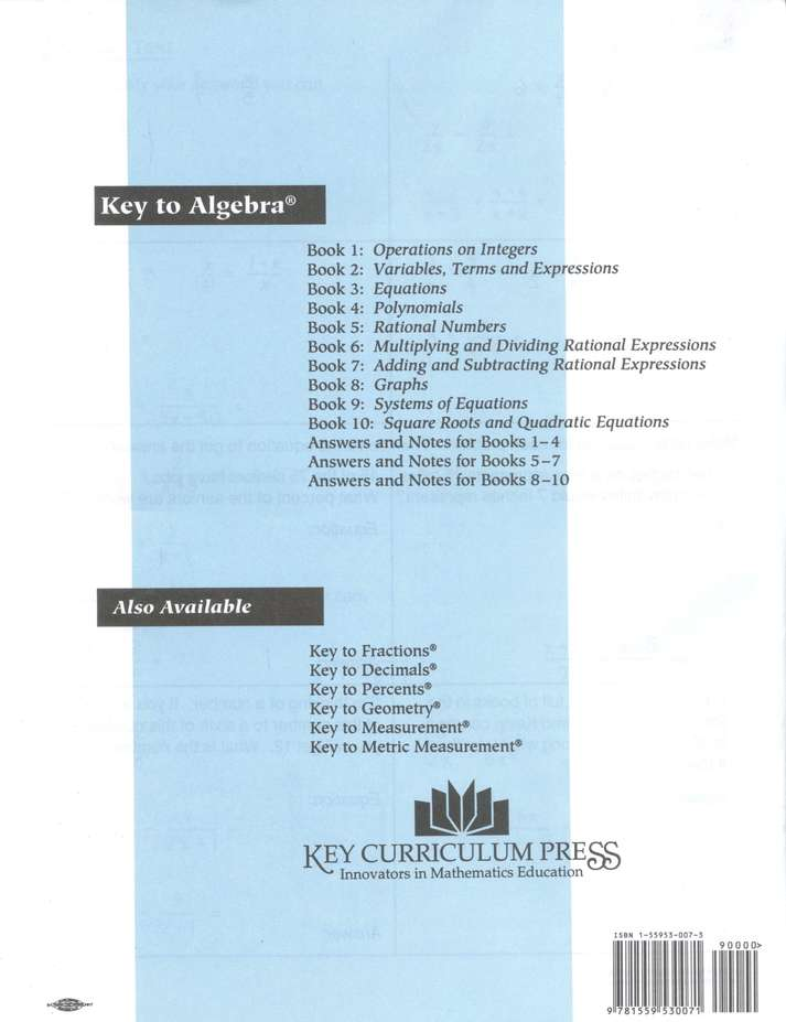 Key To Algebra, Books 1-10: 9781559530880 - Christianbook.com