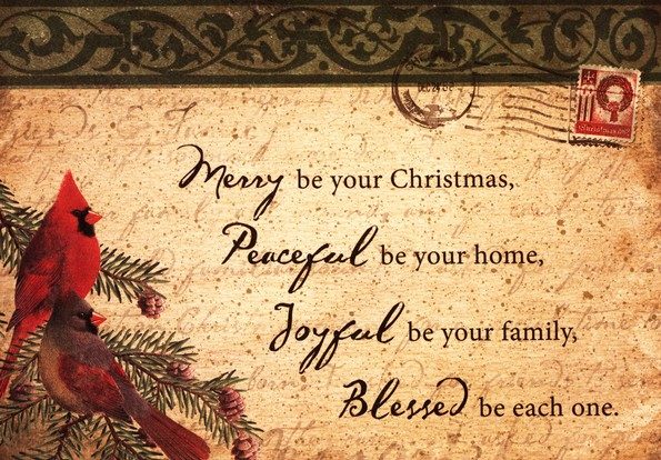 Merry, Peaceful, Joyful Christmas Card, Box of 25