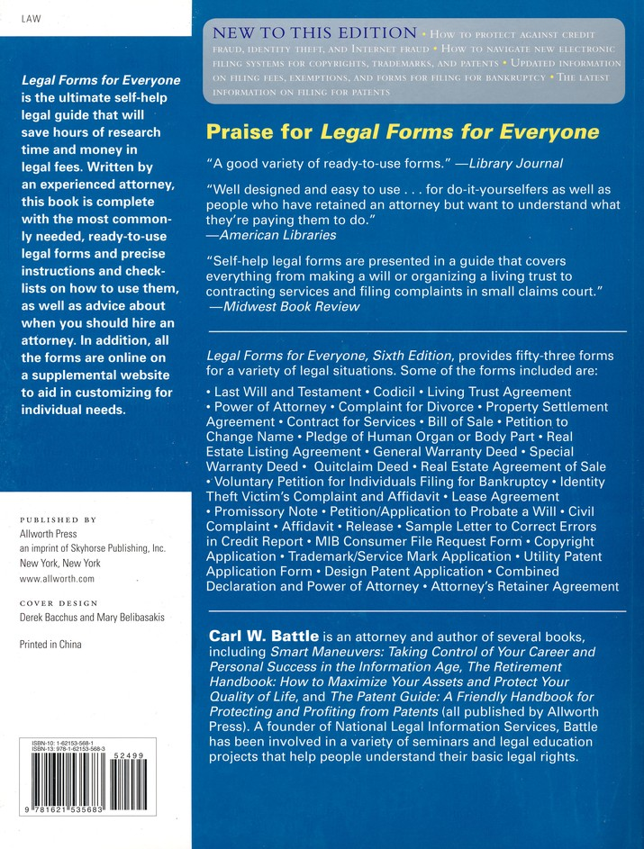 Legal Forms For Everyone Carl Battle Christianbookcom - American legal forms