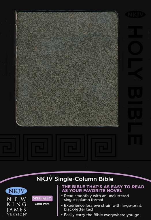 NKJV Single-Column Text Bible--bonded leather,  distressed black