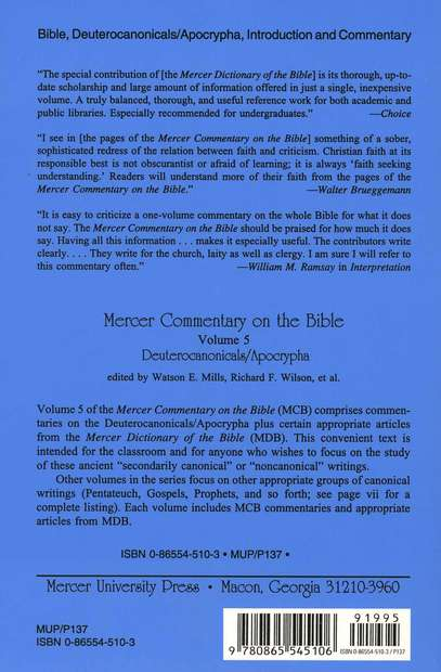 Mercer Commentary of the Bible, Volume 5: The Deuterocanonical/Apocryphal Texts