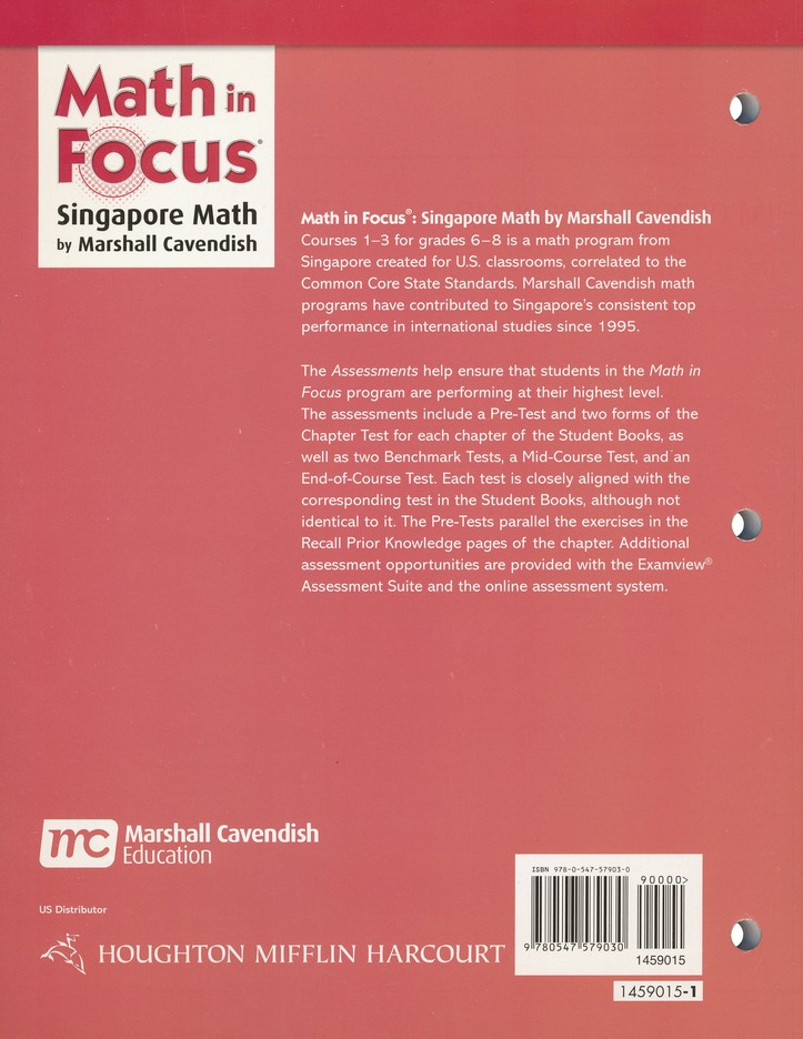 Math In Focus Course 1 Grade 6 Assessments Marshall Cavendish