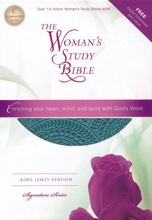 KJV Woman's Study Bible--soft leather-look, peacock blue (indexed)