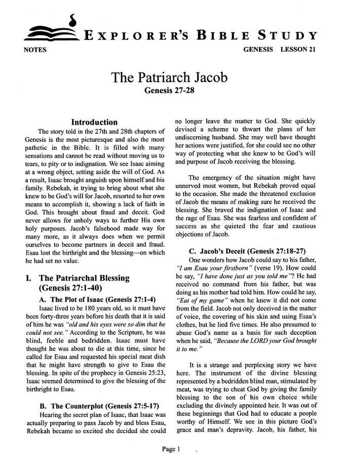 Genesis, Book 3 (Lessons 21-29)