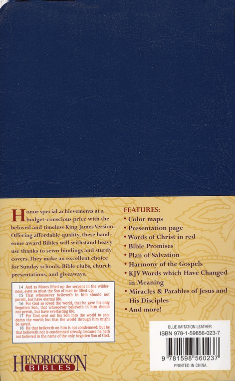 KJV Gift & Award Bible, Imitation leather, Blue