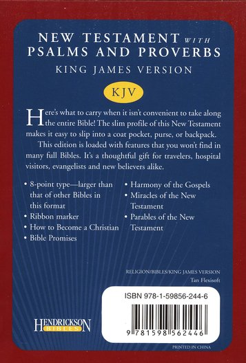 KJV New Testament with Psalms and Proverbs, imitation leather, tan