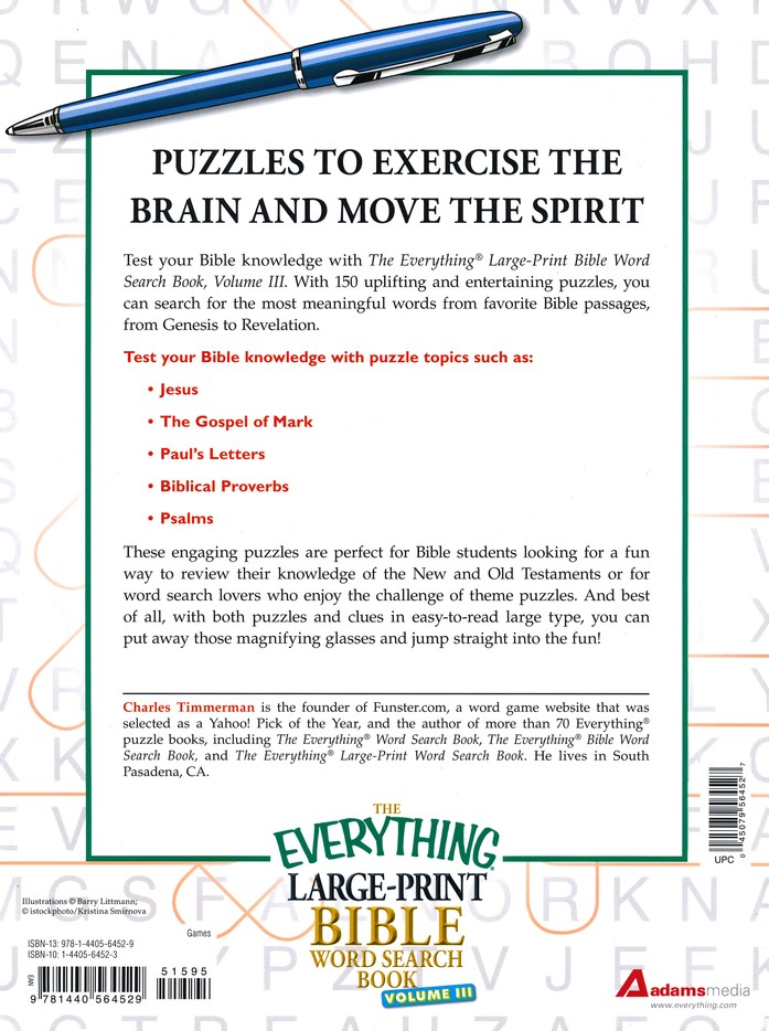 The Everything Large-Print Bible Word Search Book, Volume III: 150 Bible Word  Search Puzzles: Charles Timmerman: 9781440564529 - Christianbook.com