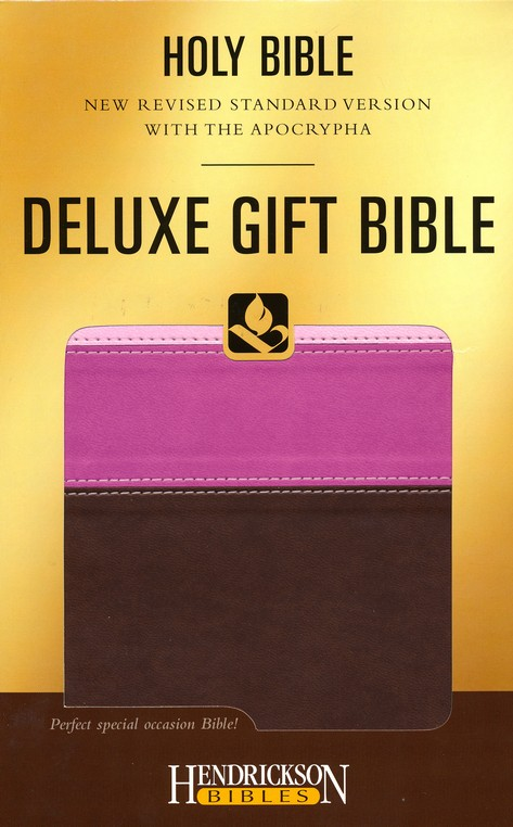 NRSV Deluxe Gift Bible with the Apocrypha--soft leather-look, chocolate/pink tri-color