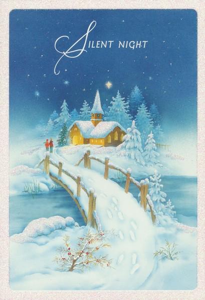 Dayspring Christmas Cards.Silent Night Snow Scene Christmas Cards Box Of 18