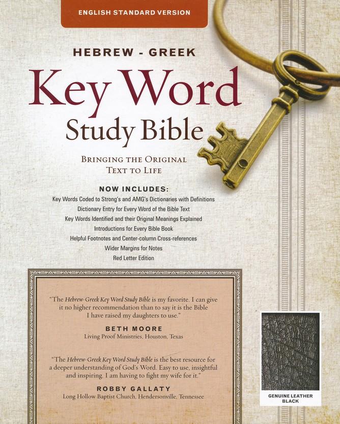 ESV Key Word Study Bible, Genuine Leather, Black