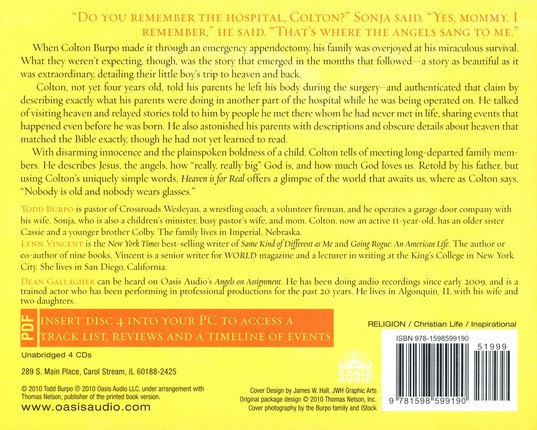 Heaven is for Real: A Little Boy's Astounding Story of His Trip to Heaven and Back - Unabridged Audiobook on CD