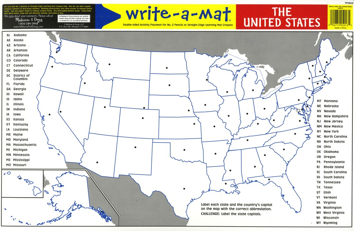 Melissa & Doug United States Write-a-Mat