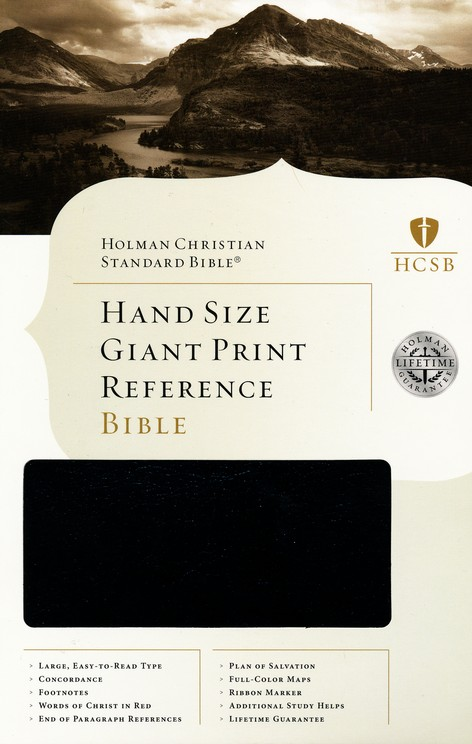 HCSB Hand Size Giant Print Reference Bible, Black Simulated Leather, Indexed