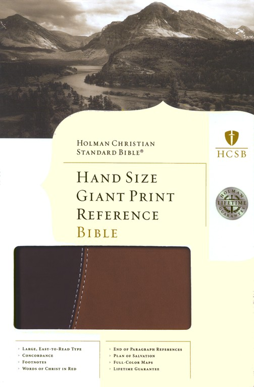 HCSB Hand Size Giant Print Reference Bible, Dark Brown & Light Brown Simulated Leather
