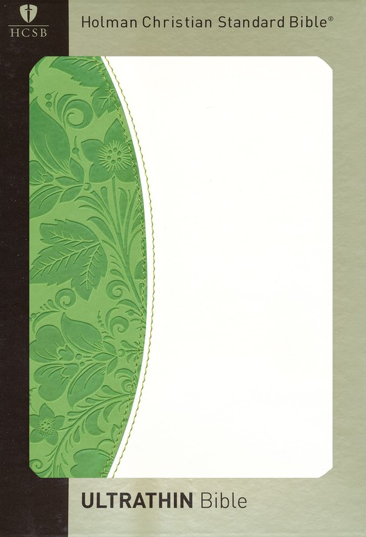 HCSB UltraThin Bible, Green & White Simulated Leather