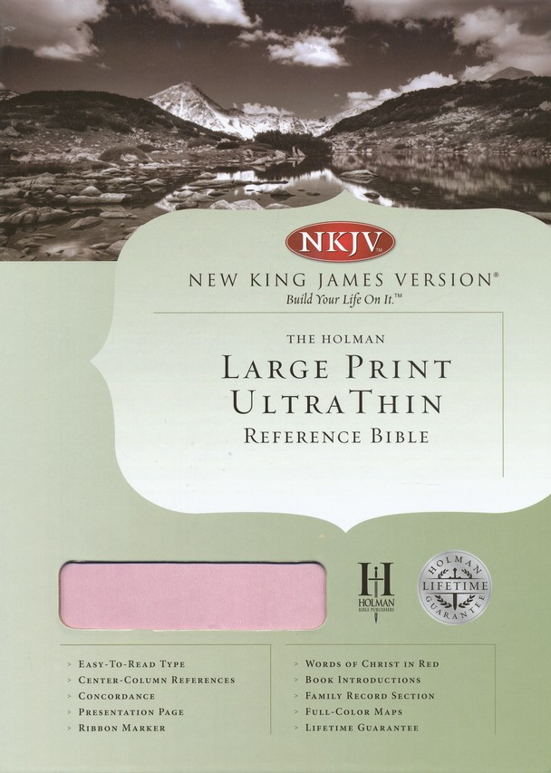 NKJV Large Print UltraThin Reference Bible, Pink/brown soft leather-look