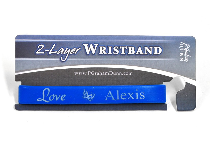 Personalized, Love Wristband, With Name and Butterfly,  Blue
