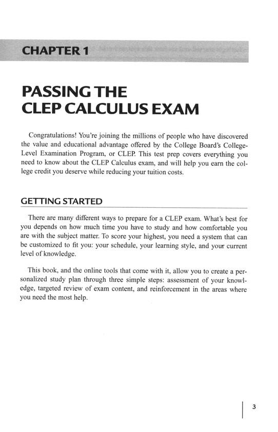 CLEP Calculus W/ Online Practice Exams