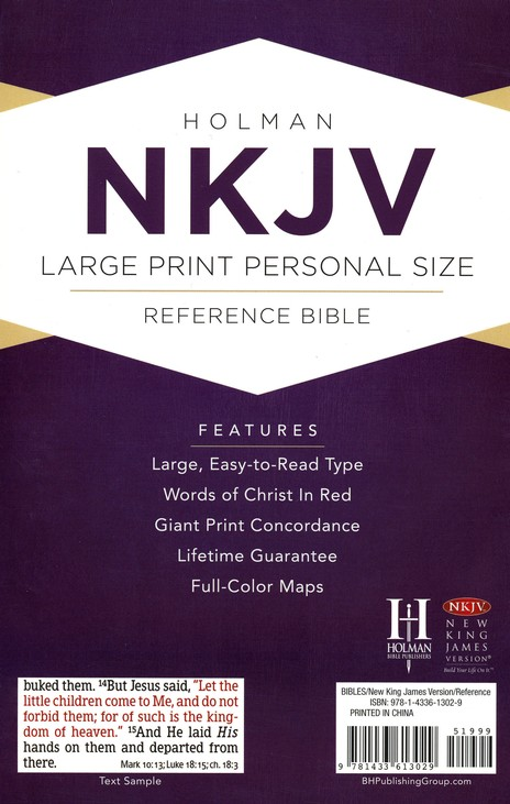 NKJV Large Print Personal Size Reference Bible, Pink LeatherTouch