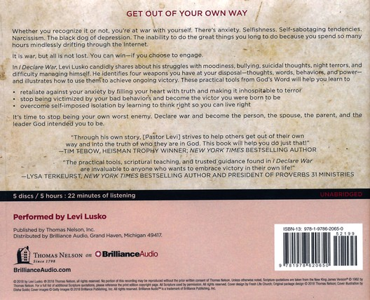 I Declare War: Winning the Battle with Yourself - unabridged audiobook on CD