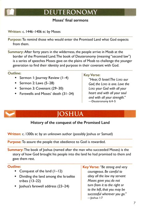 Bible Time Lines and Overview Bible Insert
