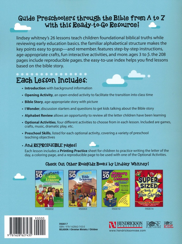 Instant Bible Lessons For Preschoolers A To Z Thru The Lindsey Whitney 9781628627435