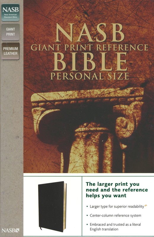 NASB Giant Print Reference Bible Personal Size, Genuine Leather, Custom