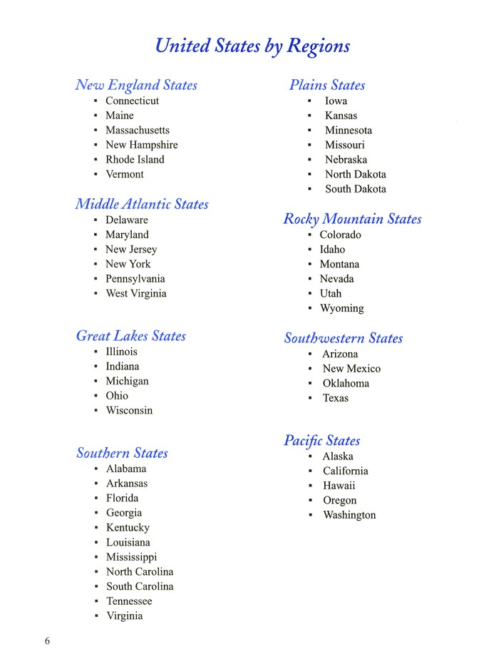 States and Capitals, Student Workbook on capitals of pacific northwest states, capitals of northeast states, capitals of western states, capitals of southern states, capitals of midwestern states, capitals of the west states, capitals of southwest states, capitals of midwest states, capitals of mid atlantic states,