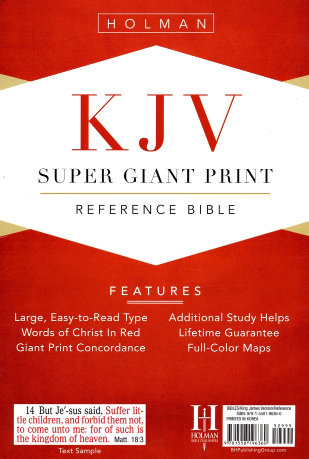 KJV Super Giant Print Reference Bible, Imitation leather, blue