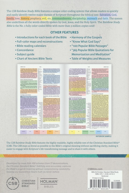 Csb Rainbow Study Bible Hardcover 9781433644160 Christianbook