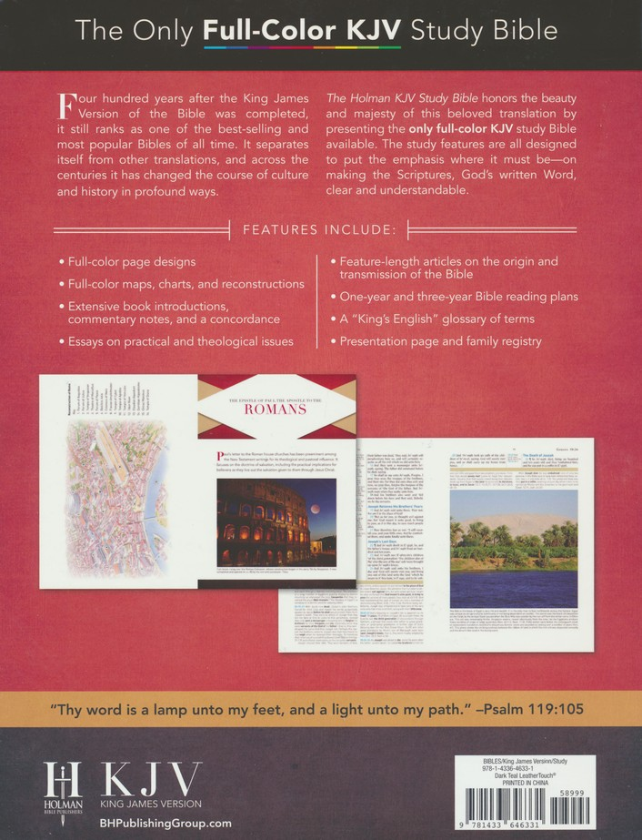 KJV Holman Study Bible Large Print Edition, Dark Teal LeatherTouch