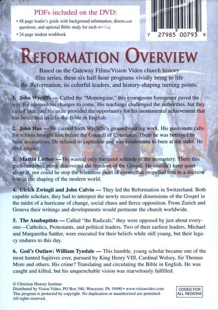 Reformation Overview--DVD Curriculum